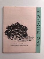 Vintage The Black Oak Restaurant Menu Paso Robles California