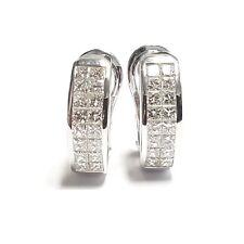 F/VS 2.00Ct Princess Cut Diamond Hoop Earrings in 18k White Gold - Heavy Gold