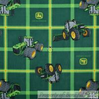 BonEful FABRIC FQ Cotton Quilt Green Yellow John Deere Farm Tractor Plaid Stripe