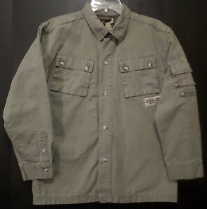 Timberland Button Up Shirt Lined Heavy Rugged Cotton Army Green Boys Large 16-18