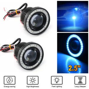 2.5 Inch Car COB LED Fog Light Projector Ice Blue Angel Eyes Halo Ring DRL Lamp