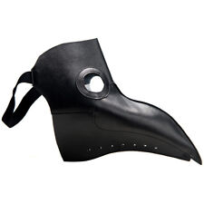 Leather Plague Doctor Steampunk Bird Mask Cosplay Gothic Halloween Costume Black