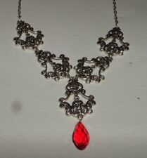 FILIGREE VICTORIAN STYLE SILVER PLATED FACETED RED GLASS BRIOLETTE NECKLACE