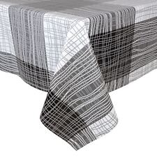 Monochrome Lines Wipe Clean PVC Vinyl Tablecloth Cover Protector 140x240cm