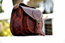 Women New Handmade Natural Tan Pure Goat Leather Vintage Messenger Bag Purse