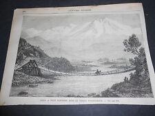 1870 ORIGINAL ANCIENT XYLOGRAPH CHILE BRIDGE ON VALLEY OF ACONCAGUA