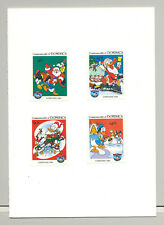 Dominica #869-871, 873 Disney Christmas 4v Imperf Proofs in Folder