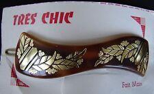 """Vintage Hair Barrettes - Brown """"Tres Chic"""" Barrette with gold color leaf design"""