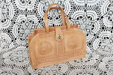 Vintage large brown tan leather 70s tooled moroccan shoulder saddle box hand bag