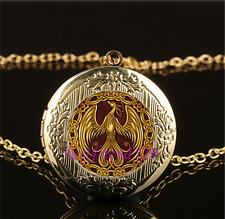 Gold Phoenix Photo Cabochon Glass Gold Plating Locket Pendant Necklace