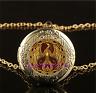 Gold Phoenix Photo Cabochon Glass Gold Plating Locket Pendant Necklace
