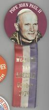 1979 POPE JOHN PAUL II America Visit PINBACK Ribbon BUTTON Pin BADGE Boston DC