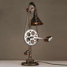 Vintage Steampunk Mottled Bronze Lamp Accent Led Desk Light with Bicycle Design
