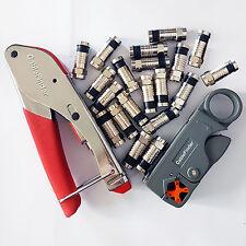 F-Type Compression & Stripper Tool + 20x RG6 Connectors-Coaxial Crimping Crimper