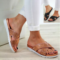 New Womens Flat Slip On Sandals Diamante Peep Toe Mule Comfy Shoes Sizes 3-8