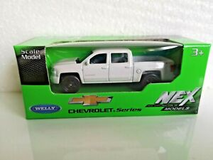 🚓 WELLY NEX CAR Scale Model 1:60 1/60 BOX CHEVROLET 2017 SILVERADO white