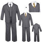 6pc Baby Toddler Boys Dark Gray Formal Wedding Tuxedo Suits Leopard Necktie S-20