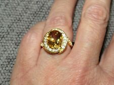 BRAZILIAN CITRINE& NATURAL WHITE CAMBODIAN ZIRCON RING-SIZE V-4.890CTS