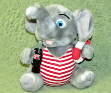 "VINTAGE COCA COLA ELEPHANT STUFFED ANIMAL 8"" SUMMER SWIMSUIT COKE BOTTLE TOY"