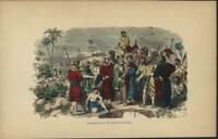 Joseph Sold to Slaver by Brothers Bible Scene 1862 antique color engraved print