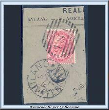 1863 Italia Regno cent. 40 rosso carminio Tirat Torino n. T20 Usato su frammento