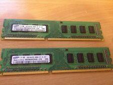 2GB (2x1GB) Samsung 1Rx8 PC3 8500U 1066mhz DDR3 RAM Desktop Memory Kit PC Paired