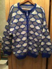 Vintage 1980s Oversize Slouchy Mohair Handknit Cardigan Soft Fluffy M L XL