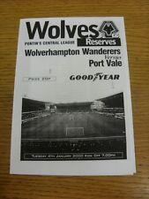 04/01/2000 Wolverhampton Wanderers reservas V Port Vale reservas (cuatro páginas).