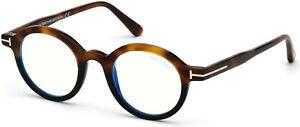 TOM FORD FT5664 B 056 Havana Clear Lens Plastic blue filter 45 Unisex Eyeglasses