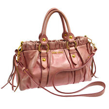 100% Authentic MIUMIU Logos 2way Hand Bag Pink Leather Turkey Vintage S06744
