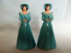 Set/2 1960's Vintage Gay Lesbian Plastic Wedding Cake Topper Blue, Excellent Con