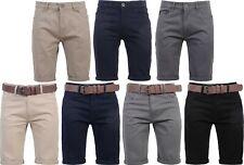 Hommes Crosshatch Short Chino Coton Demi Pantalon Cargo Combat Gratuit Ceinture