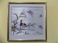 Vintage Bird tree Butterfly Flowers Hand Sewn Silk Pictures golden Framed