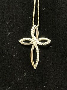 Sterling Silver 925 & Diamond Cross Necklace Southwest Estate