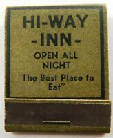 Hi-Way-Inn Open All Night Harlingen Texas Full Unstruck Vintage Matchbook Ad