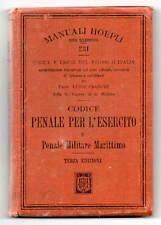 Manuale Hoepli Codici Penali per Esercito Codice Penale Militare Marittimo 1908