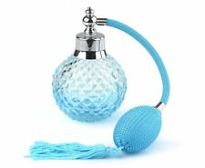 Vintage Crystal Perfume Bottle Blue Long Spray Atomizer Refillable Glass 100ml