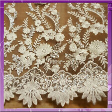 3D CHAMPAGNE GOLD EMBROIDERY FLOWER / FLORAL SEQUIN LACE  FABRIC BY THE YARD