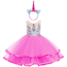 Princess Girls Unicorn Dress Tutu Costume for Kid's Birthday Party with Headband
