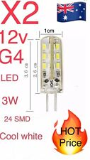 2x G4 3W Cool White LED 12V Light Corn Bulbs 24 SMD Silicone Lamp DC Globe