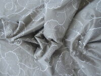 SANDERSON CURTAIN FABRIC DESIGN Elyan Silk 4.7 METRES LINEN/CREAM EMBROIDERED