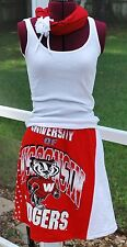 Wisconsin Bucky Badger Polka Dot Game Day A line Skirt Upcycled T-Shirts L