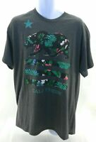 Sole Addiction T Shirt Mens Size Large Gray Floral Striped Graphics Short Sleeve