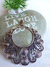 großer runder Retro Amulett Kettenanhänger Anhänger Metall Silber Hippie Boho