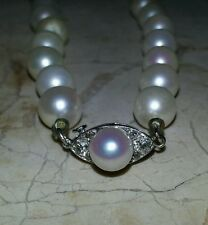 South Sea Cultured Symmetrical Pearls Choker with 6 Diamonds Clasp, Jewelry Art!