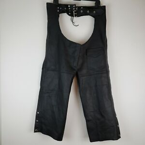 USA Bikers Dream Apparel Black Leather Motorcycle Riding Chaps XL