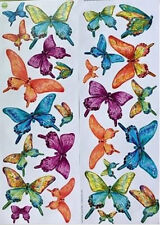 BUTTERFLIES wall stickers 26 colorful watercolors decals bugs insects fluttering