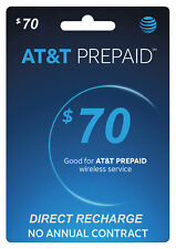 AT&T Prepaid $70 Refill Top-Up Prepaid Card / DIRECT RECHARGE