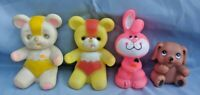 4 Vintage Gerber Soft Friend Brown Doggy Baby Squeeze Toy Lot Adorable!! 1987