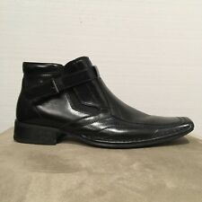 Giorgio Brutini 11M Black Leather Marcelo Boots Slip On Elastic with Buckles